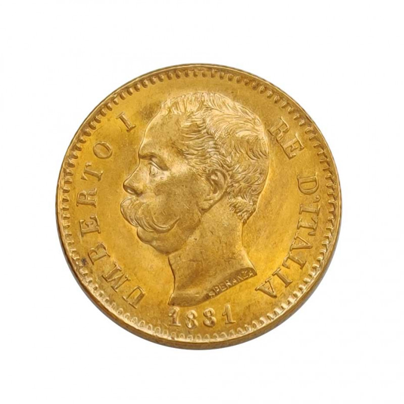 Gold Coin of 20 Lire Italy Umberto I of Savoy 6.45 g Year 1881 | Collectible Coins - Alotcoins
