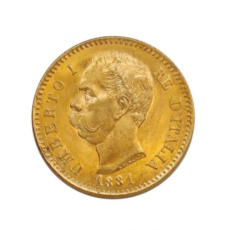 Moneda de oro de 20 Liras Italia Umberto I 6,45 grs Año 1881 | Monedas de colección - Alotcoins