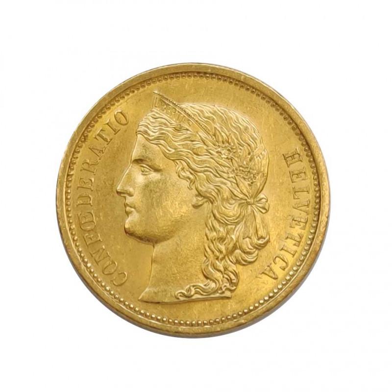 Moneda de oro de 20 Francos Suiza Busto Helvetia 6,45 grs Año 1883 | Monedas de colección - Alotcoins