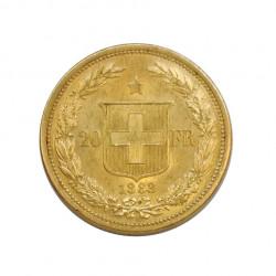 Gold Coin of 20 Francs Switzerland Helvetica Bust 6.45 g Year 1883 | Numismatics Shop - Alotcoins