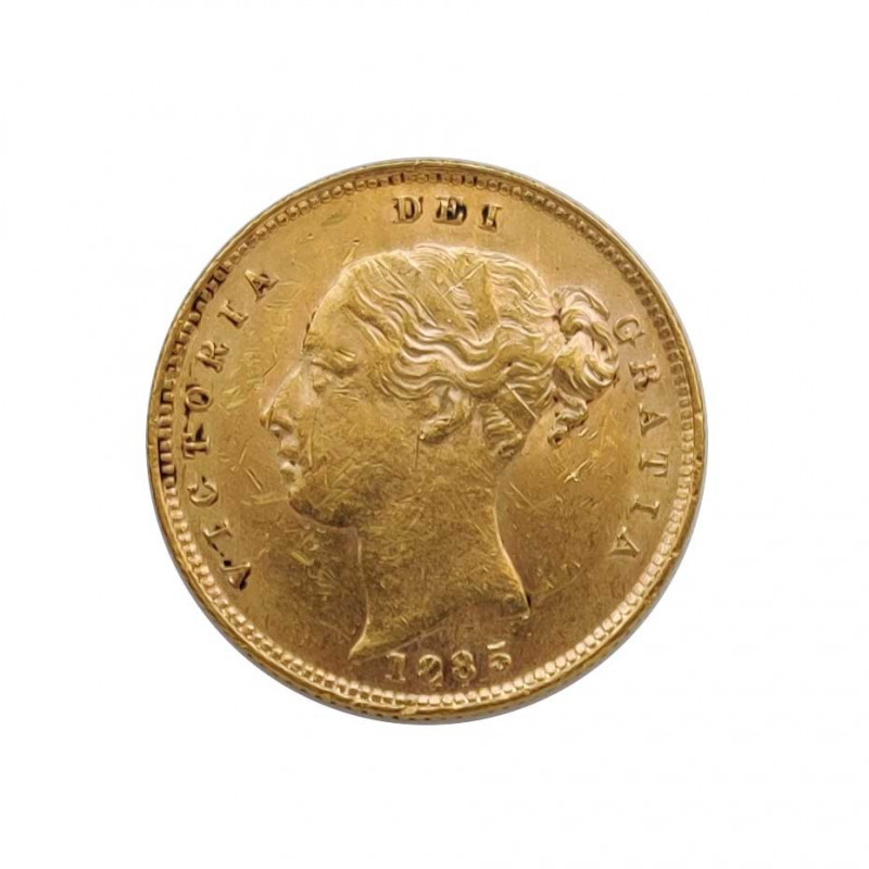 Gold Coin of 1/2 Sovereign United Kingdom Queen Victoria 3.992 g Year 1885 | Collectible Coins - Alotcoins