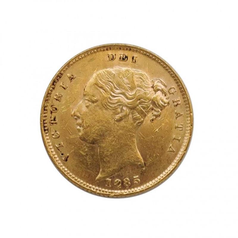 Moneda de oro de 1/2 Sovereign Reino Unido Reina Victoria 3,992 grs Año 1885 | Monedas de colección - Alotcoins