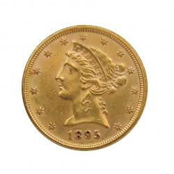 Moneda de oro Medio Eagle Estados Unidos Libertad 8,36 grs Año 1895 | Monedas de colección - Alotcoins