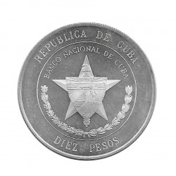 Silver Coin 10 Pesos Cuba National Bank of Cuba Year 1975 Proof   Numismatics Shop - Alotcoins
