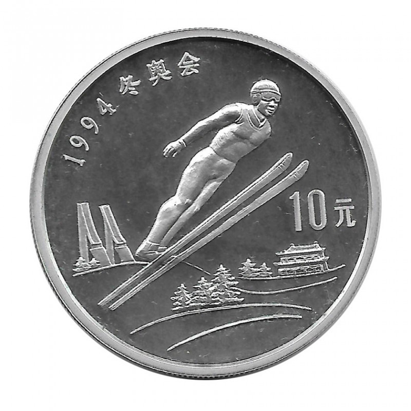 Moneda China Año 1992 Plata 10 Yuan Saltador de esquí Proof