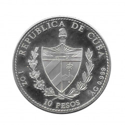 Silver Coin 10 Pesos Cuba Queen Isabel Spain Year 1990 Proof | Numismatics Shop - Alotcoins