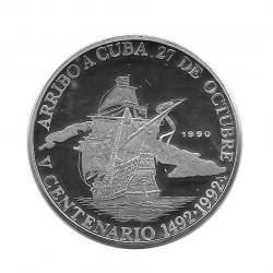 Moneda Plata 10 Pesos Arribo a Cuba 1492-1992 Año 1990 Proof | Monedas de colección - Alotcoins