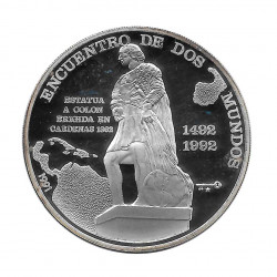Silver Coin 10 Pesos Cuba Two Worlds Encounter Cristobal Colon Year 1991 Proof | Collectible Coins - Alotcoins