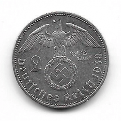 Moneda Alemania 2 Reichmark Año 1938 Esvástica