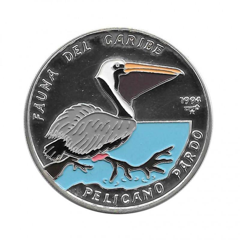 Silver Colored Coin 10 Pesos Cuba Pelican Year 1994 Proof   Collectible Coins - Alotcoins