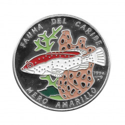 Silver Colored Coin 10 Pesos Cuba Yellow Grouper Year 1994 Proof | Collectible Coins - Alotcoins