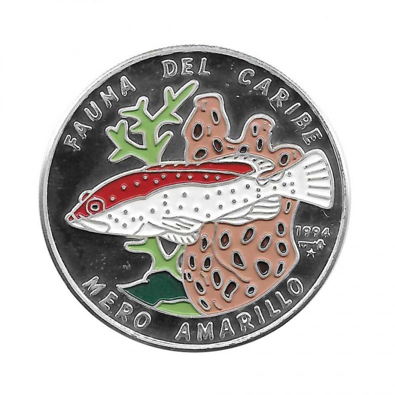 Silver Colored Coin 10 Pesos Cuba Yellow Grouper Year 1994 Proof   Collectible Coins - Alotcoins