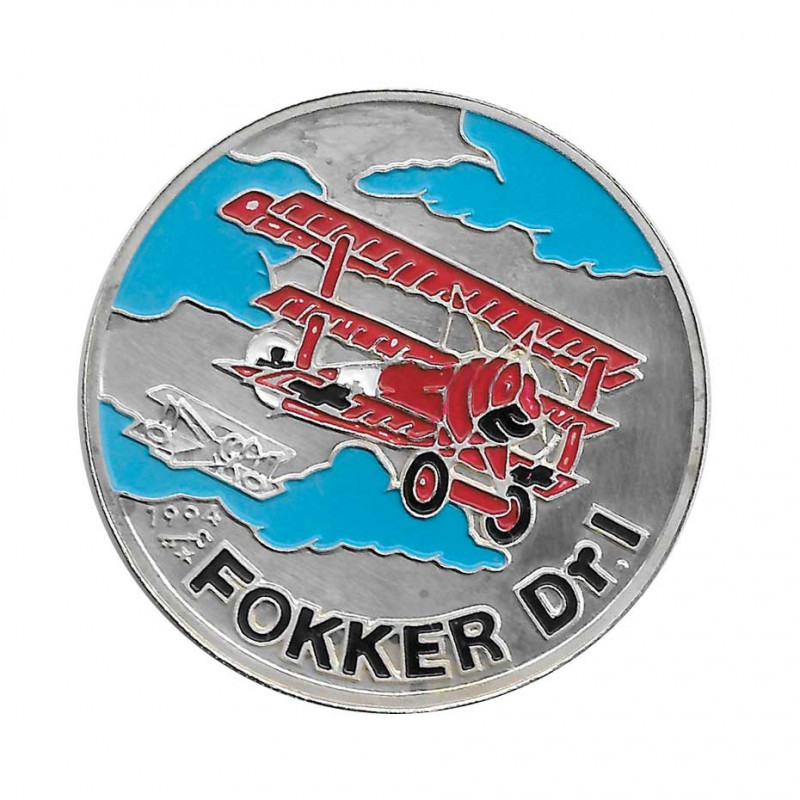 Silver Colored Coin 10 Pesos Cuba Fokker Dr.I Year 1994 Proof   Collectible Coins - Alotcoins