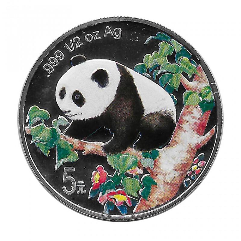 Moneda China 5 Yuan 1998 Silver Panda Multicolor