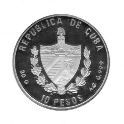 Silver Colored Coin 10 Pesos Cuba Fokker Dr.I Year 1994 Proof   Numismatics Shop - Alotcoins