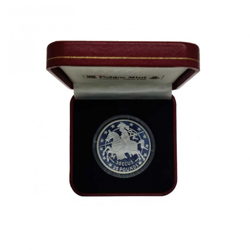 Silver Coin 35 ECU / 25 Pounds Gibraltar Knight Year 1992 Proof | Collectible Coins - Alotcoins