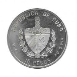 Silver Colored Coin 10 Pesos Cuba English Albatross D II Year 1994 Proof | Numismatics Shop - Alotcoins