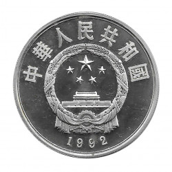 Moneda China Año 1992 Plata 10 Yuan Esquís Cruzados Proof