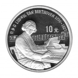 Moneda China Año 1990 Plata 10 Yuan Proof Ludwig Van Beethoven