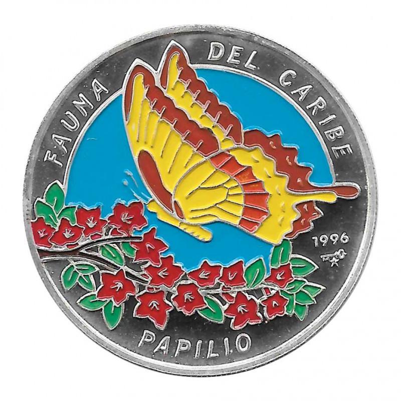 Moneda Plata 10 Pesos Cuba Mariposa Papilio Oxynius Año 1996 Proof | Monedas de colección - Alotcoins