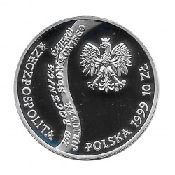 Silver Coin 10 Złotych Poland Juliusz Słowacki Year 1999 Proof  | Numismatics Shop - Alotcoins