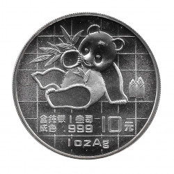 Coin China 10 Yuan Year 1989 Silver Proof Baby Panda on grid background