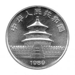 Moneda China Año 1989 Plata  10 Yuan Panda bebé en el fondo de la red Proof