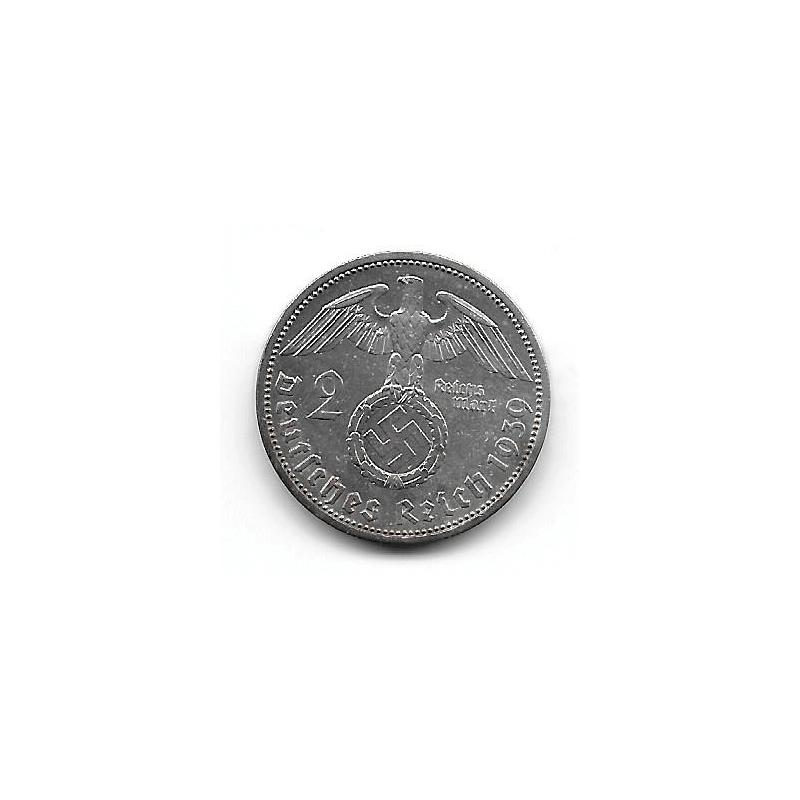 Moneda Alemania 2 Reichmark Año 1939 Esvástica