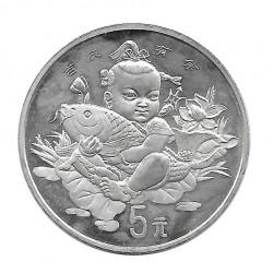 Moneda de plata 5 Yuan China Niña Suerte Año 1997 Sin circular SC | Monedas de colección - Alotcoins