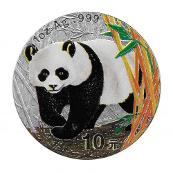 Moneda China 10 Yuan Año 2002 Plata Panda Multicolor Proof