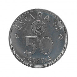 Coin 50 Pesetas Spain Soccer World Cup 1982 Star 82 Year 1980 Uncirculated UNC | Numismatics shop - Alotcoins