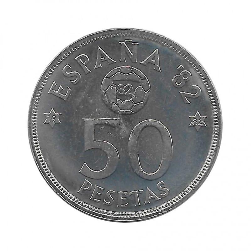 Coin 50 Pesetas Spain Soccer World Cup 1982 Star 82 Year 1980 Uncirculated UNC | Numismatics shop - Alotcoins