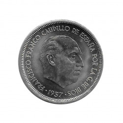 Coin 25 Pesetas Spain General Franco Year 1957 Star 69 Uncirculated UNC | Numismatics store - Alotcoins