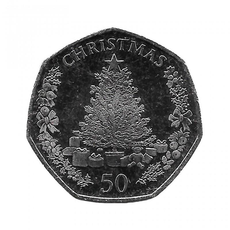 Moneda Navidad Gibraltar Árbol Navidad 50 Peniques Año 2016