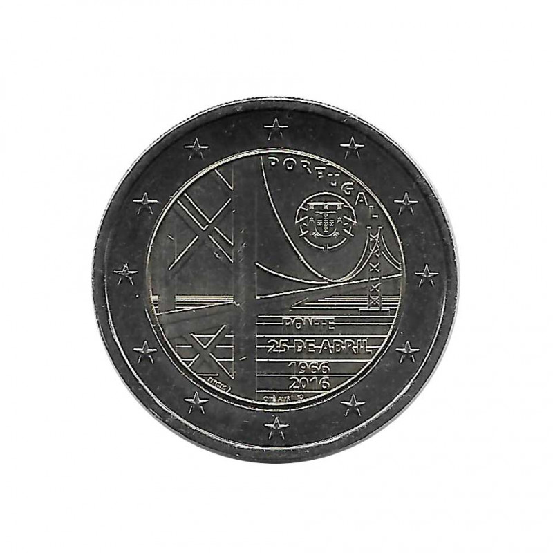 Commemorative Coin 2 Euros Portugal 25th of April bridge Year 2016 Uncirculated UNC | Collectible coins - Alotcoins