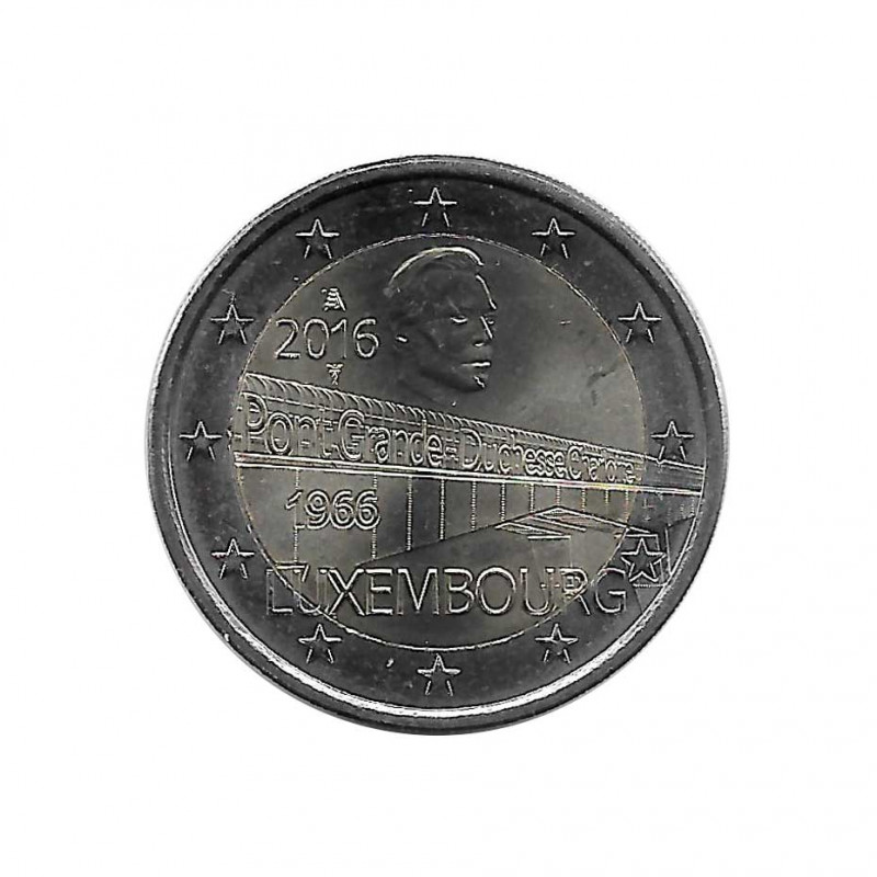 Commemorative Coin 2 Euros Luxembourg Grand Duchess Charlotte Bridge Year 2016 Uncirculated UNC | Collectible Coins - Alotcoins