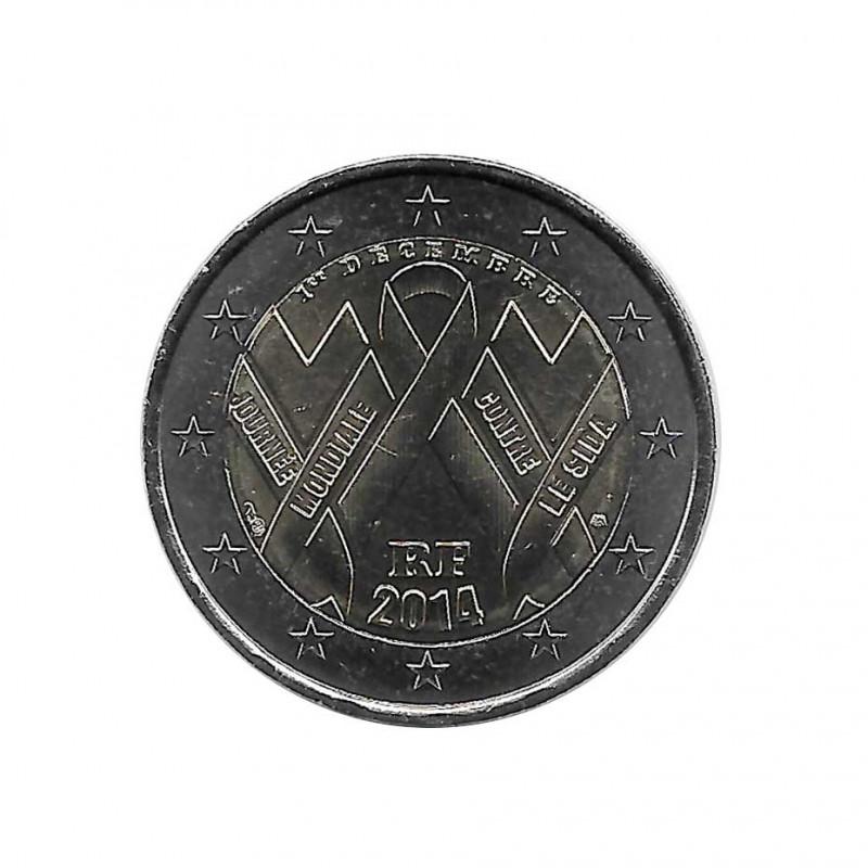 Moneda 2 Euros Conmemorativa Francia Día Mundial del Sida 1 de diciembre 2020 Año 2014 SC | Monedas de colección - Alotcoins
