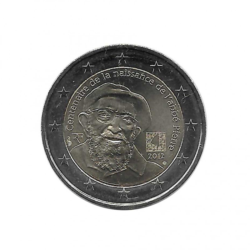 Commemorative Coin 2 Euro France Abbé Pierre Year 2012 Uncirculated UNC | Collectible coins - Alotcoins