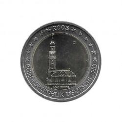 Moneda 2 euros Conmemorativa Alemania Iglesia San Miguel Hamburgo J año 2008 Sin circular SC | Numismática española - Alotcoins