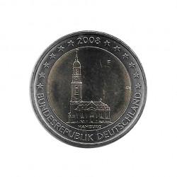 Moneda 2 euros Conmemorativa Alemania Iglesia San Miguel Hamburgo F año 2008 Sin circular SC | Numismática española - Alotcoins