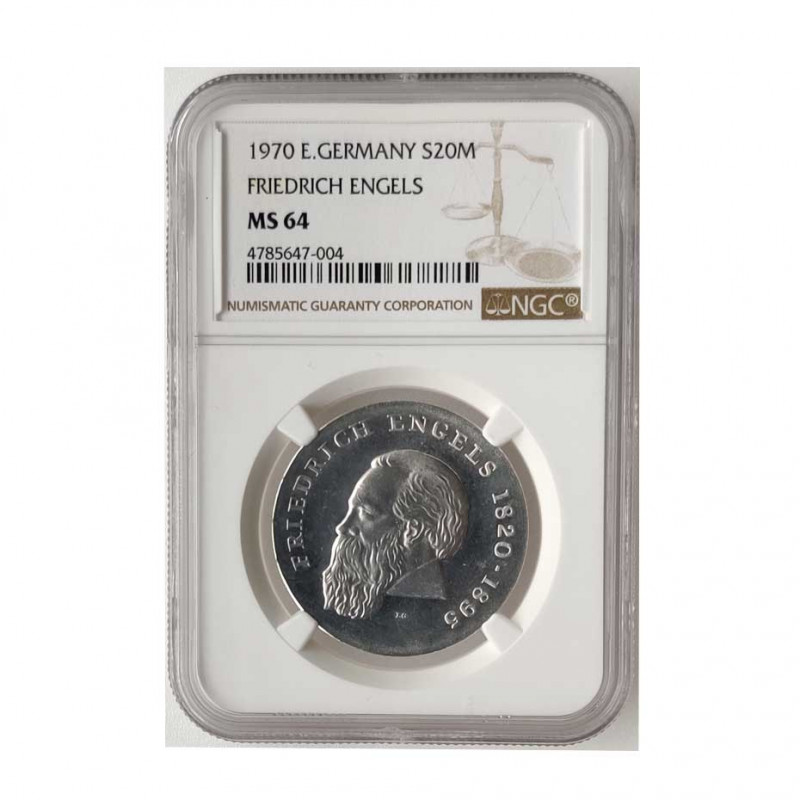 Silver Coin 20 Mark Democratic Germany Friedrich Engels Year 1970 | Numismatic shop - Alotcoins