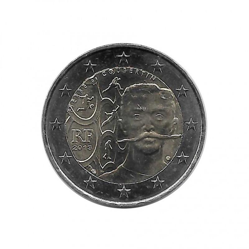 Moneda 2 Euros Conmemorativa Francia Historiador Francés Pierre de Coubertin Año 2013 Sin circular SC | Numismática - Alotcoins