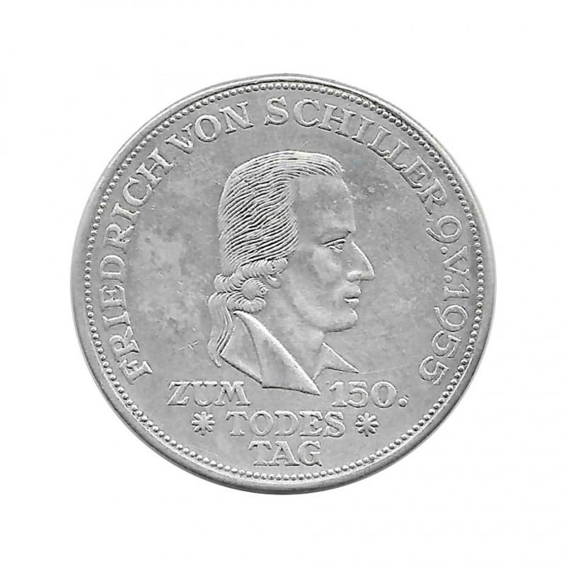 Silver Coin 5 German Mark Germany Friedrich von Schiller F Year 1955 | Numismatic shop - Alotcoins