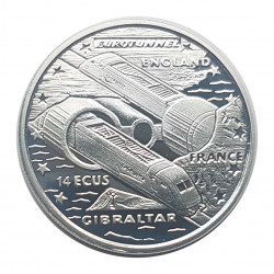 Silver Coin 14 ECU Gibraltar Channel Tunnel Year 1993 Proof | Collector coins - Alotcoins