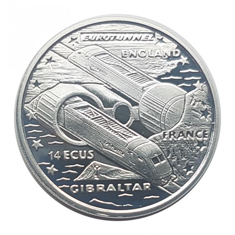 Silbermünze Gibraltar 14 ECU Kanaltunnel Jahr 1993 Polierte Platte PP | Numismatik shop Gedenkmünzen - Alotcoins