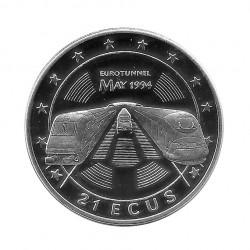 Silbermünze Gibraltar 21 ECU Kanaltunnel Jahr 1994 Polierte Platte PP | Numismatik Sammlermünzen - Alotcoins