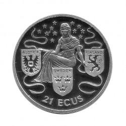 Silbermünze Gibraltar 21 ECU Österreich, Schweden und Finnland Jahr 1995 Polierte Platte PP | Sammlermünzen - Alotcoins
