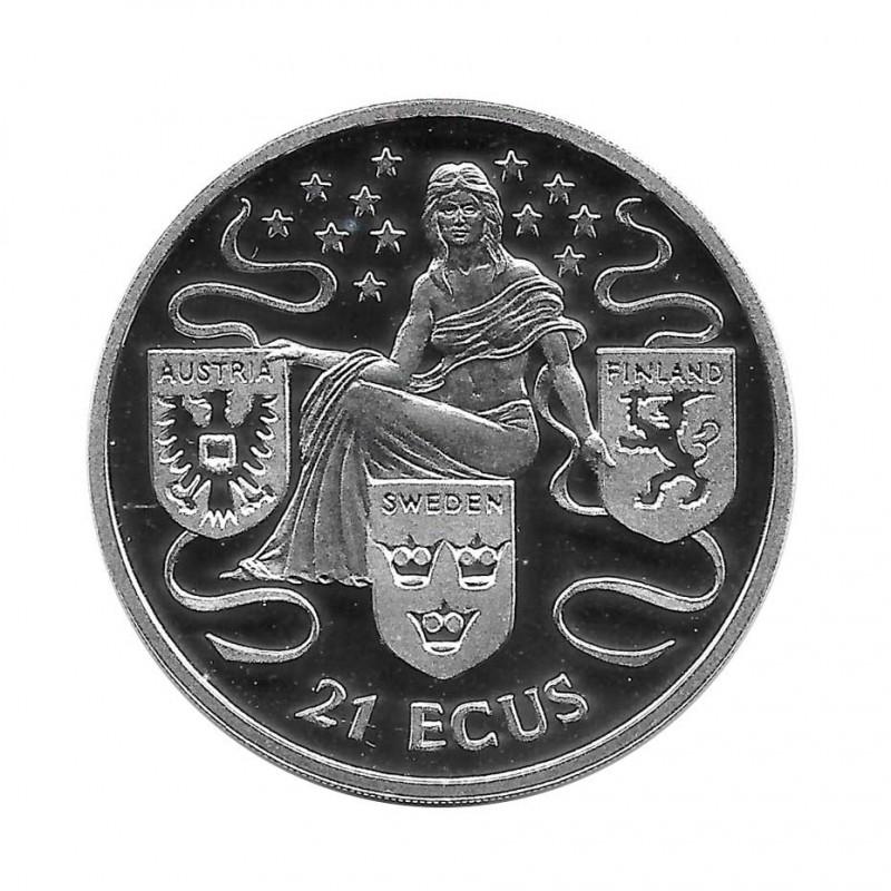 Moneda de plata 21 ECUs Gibraltar Austria, Suecia y Finlandia UE Año 1995 Proof | Tienda Numismática - Alotcoins