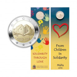 Commemorative Coincard 2 Euros Malta Children and solidarity - Love Year 2016 Uncirculated UNC | Collectible coins - Alotcoins