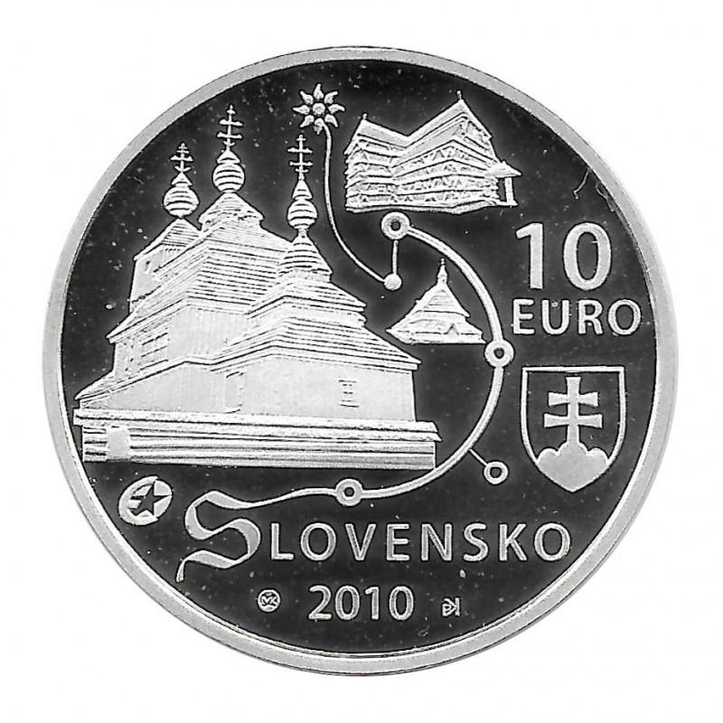 Silbermünze 10 Euro Slowakei Holzkirchen Jahr 2010 Polierte Platte PP   Numismatik Shop - Alotcoins